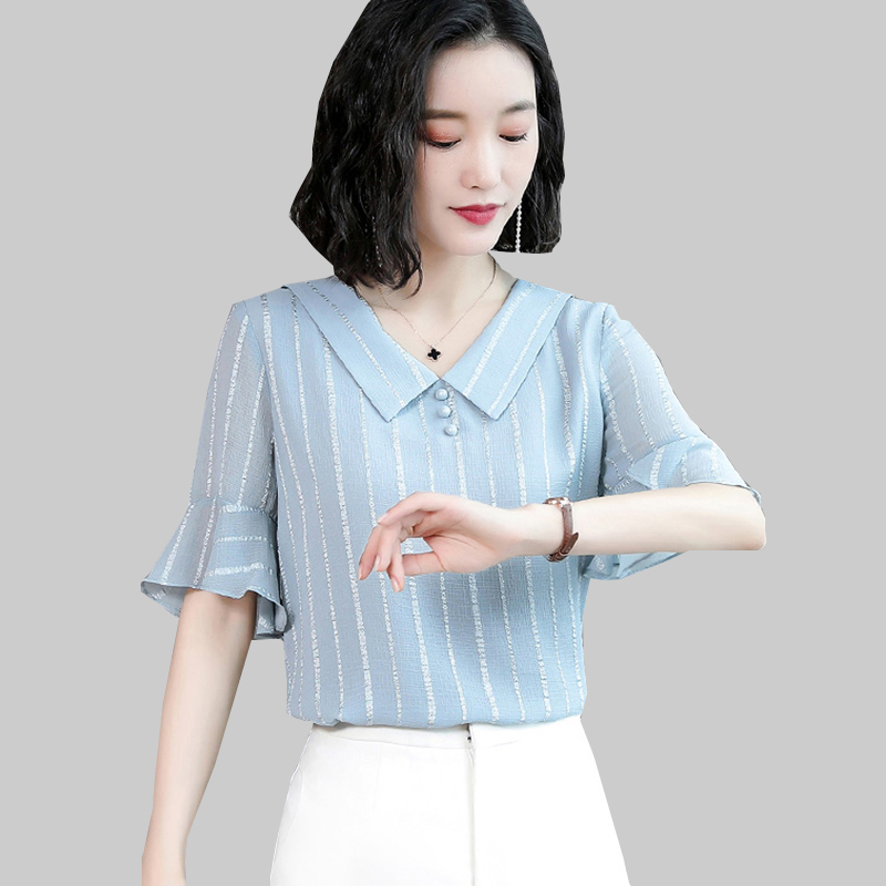 Shintimes Office Chiffon Blouse Peter Pan Collar Shirt Women Clothes 2019 Tops Striped Button Summer Half Sleeve Womens Shirts