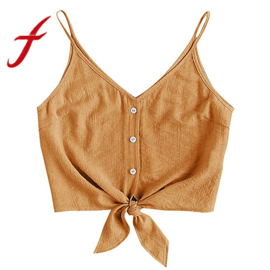 5318671aad0d5 Feitong Women Crop Tops Sexy Strappy Button Sleeveless Bow Crop Top Vest  Tank Shirt Blouse Tops
