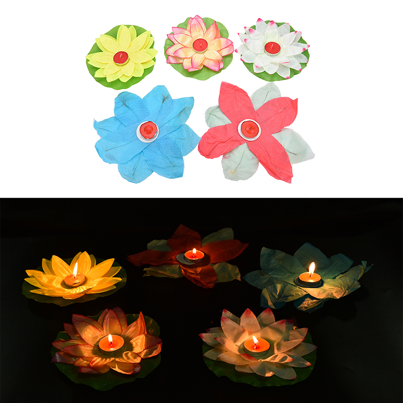 Hot 1pc paper flower light drifting blessing floating lotus lanterns hot 1pc paper flower light drifting blessing floating lotus lanterns lotus water lamp wedding party decorations in lanterns from home garden on mightylinksfo