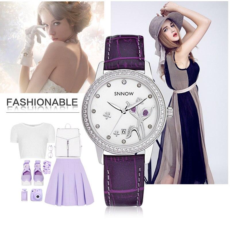 CASIMA marque de luxe neige série mode affaires décontracté dames montres Montre à Quartz étanche en cuir avec strass Montre