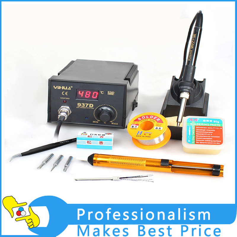 Good Quality YH-937D Soldering Station ESD 45W YH 937D 24V Digital Thermostat Heat Gun Soldering Iron YH937D YIHUA 937D esd safe 75w soldering handpiece t245a solder iron handle for di3000 intelligent soldering station