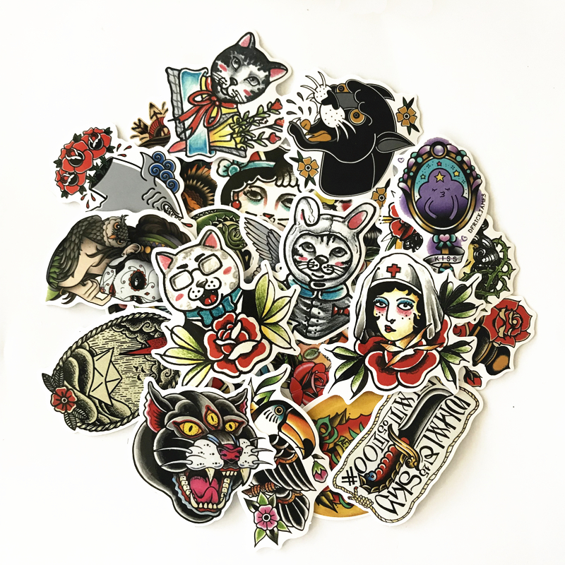 TD ZW 50Pcs lot Old School Tattoo Girl Stickers For Snowboard Laptop Luggage Car Fridge DIY Styling Vinyl Home Decor Pegatina in Stickers from Toys Hobbies