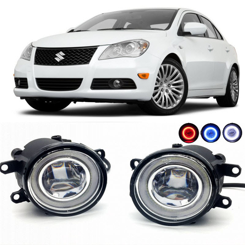 2 in 1 LED Angel Eyes DRL 3 Colors Daytime Running Lights Cut-Line Lens Fog Lamp for Suzuki Kizashi 2010 2011 2012 2013 2014 car styling 2 in 1 led angel eyes drl daytime running lights cut line lens fog lamp for land rover freelander lr2 2007 2014