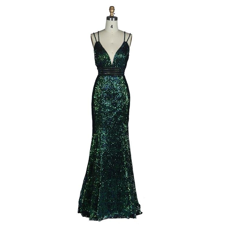 2019 mode été profonde col en v épaississement paillettes longue robe de soirée Stretch dos nu vert robe longue partie balle robe de soirée