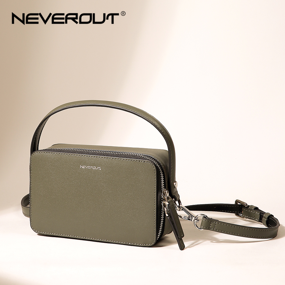 NEVEROUT Brand Small Handbag for Women Split Leather Shoulder Crossbody Bag with Handle Ladies Zipper Flap Bag Black/Green/Khaki