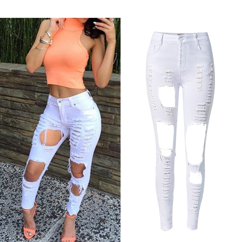 Boyfriend Jeans For Women Solid Stretchable Pencil Skinny Denim Sexy Full-Length Hot Fashion Ripped Hole Jeans High Waist Jeans women sexy distressed hole denim jeans fashion cotton stretch full length jeans high waist skinny pencil pants