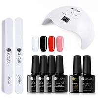 UR SUGAR Gel Nail Polish Nail Sequins Top Base Coat Primer Set 40W UV LED Nail Dryer Nail Art Gel Varnish Manicure Tools Kit