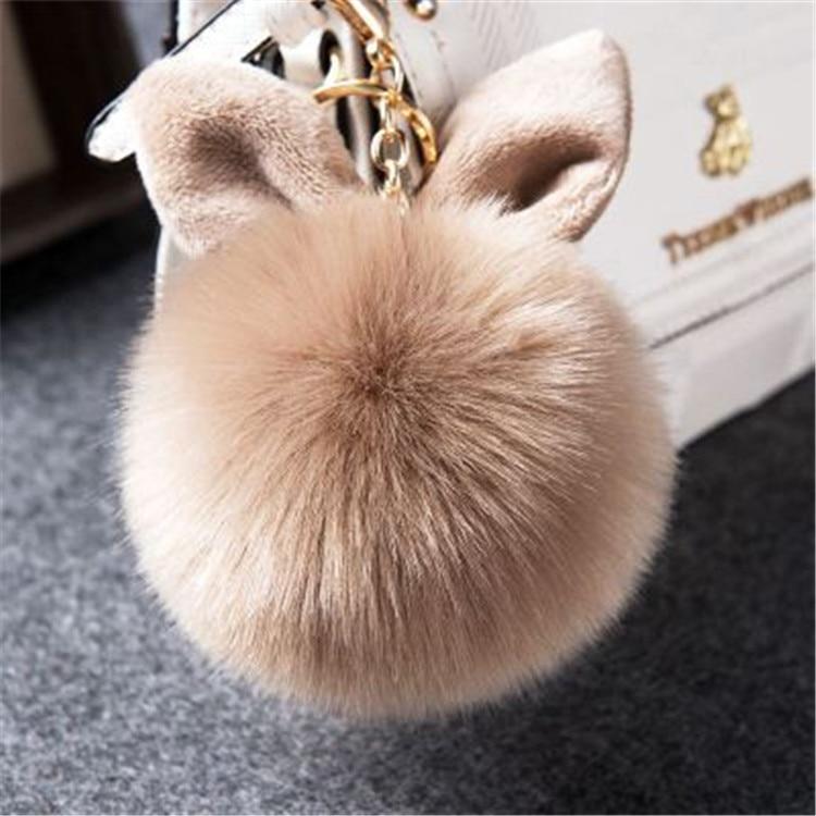 2017 Fur Pom Pom Keychain Fake Rabbit fur ball key chain porte clef pompom de fourrure pompon Bag Charms bunny keychain Keyring 48