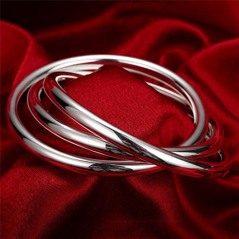 Fashion 925 Pure Silver Bracelet Bangles Women Three Lines High Quality Silver Bracelet Bangles Jewelry