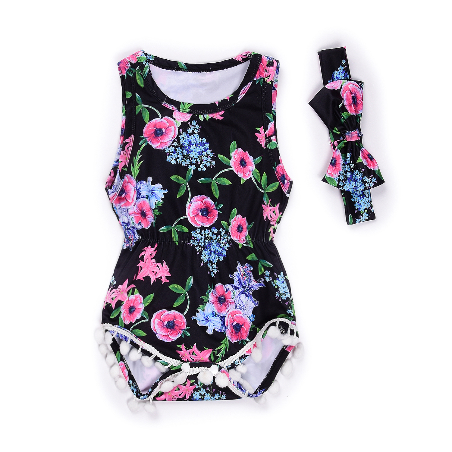 Cute Baby Floral Romper + Headband 2PCS Cotton Sleeveless Newborn Rompers Baby Onepiece Kids Clothing