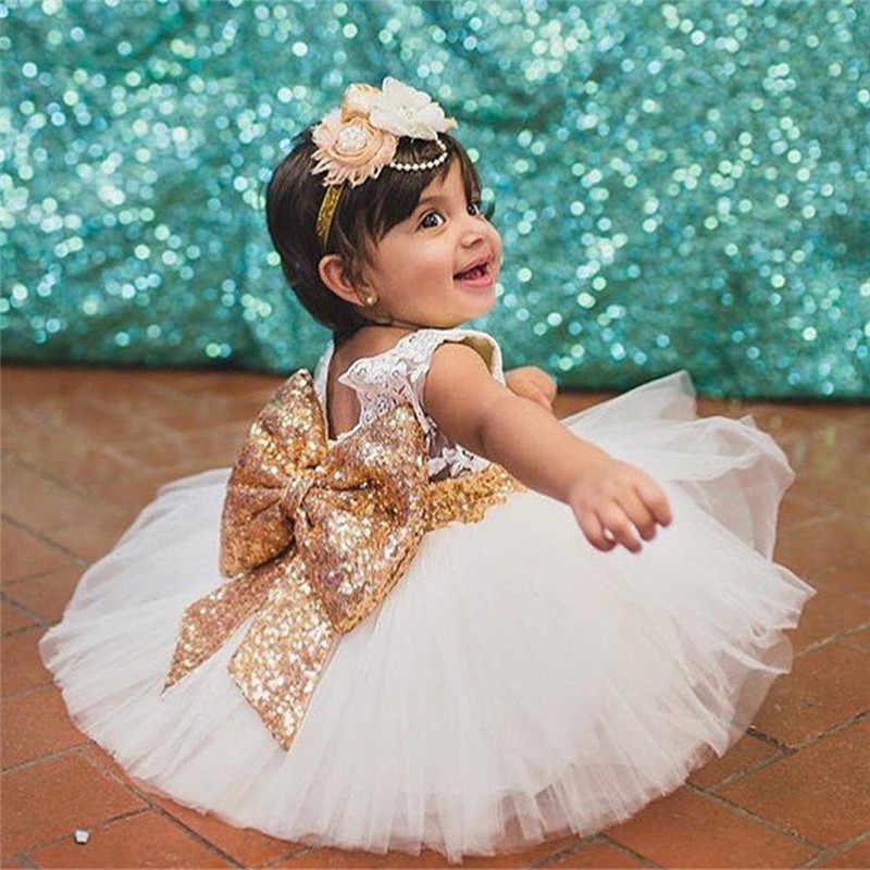 Princesa Sin Espalda Oro Arco Niñas Vestido Para El Bautismo