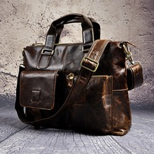 Mens Genuine Leather Antique Style Briefcases Business 16″ Laptop Cases Attache Messenger Bags Tote B260