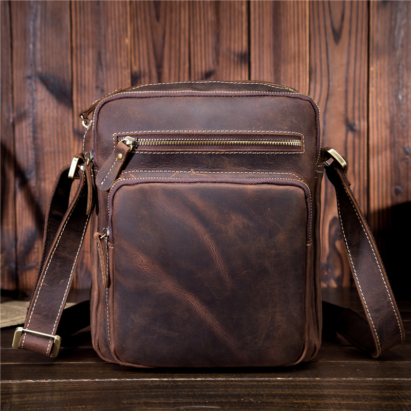 Men's Genuine Leather Handbag Vintage Men Bags Small Casual Flap Shoulder Crossbody Bag Travel Bag Man Totes For Phone SDM9349 new vintage men messenger bags casual multifunction small flap travel bags canvas shoulder crossbody black bags hot sale
