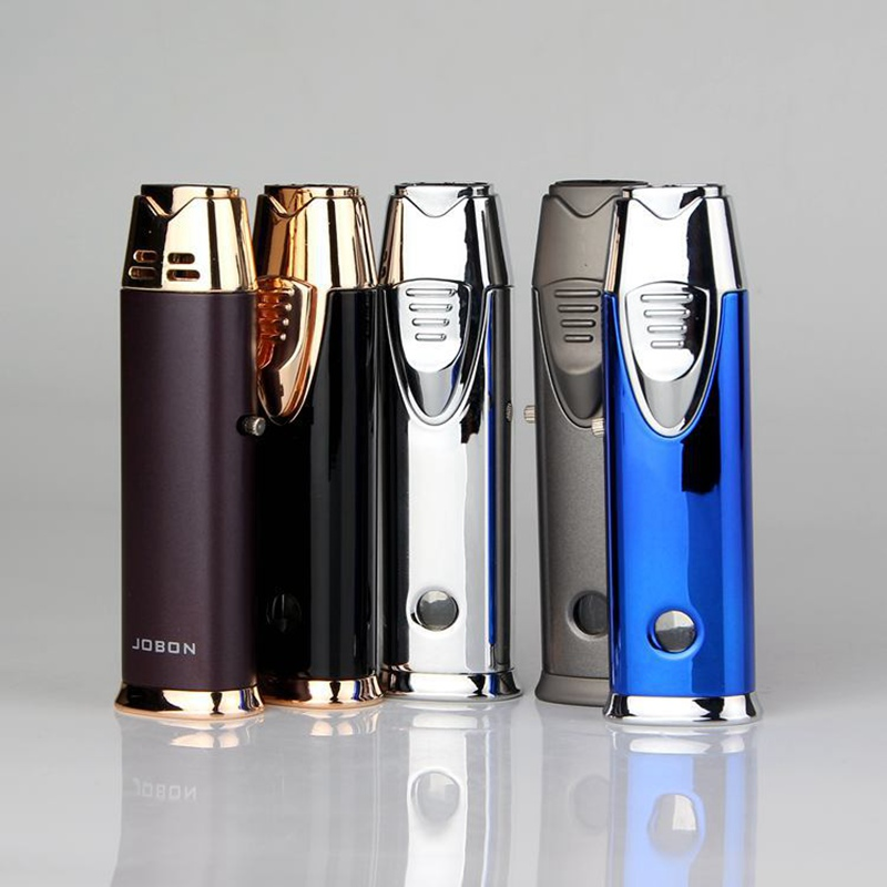 Windproof Electronic Cigarette Lighter Metal Gas Lighter Cigarettes Torch Lighter Turbo Jet 1300 C Butane Lighters in Matches from Home Garden