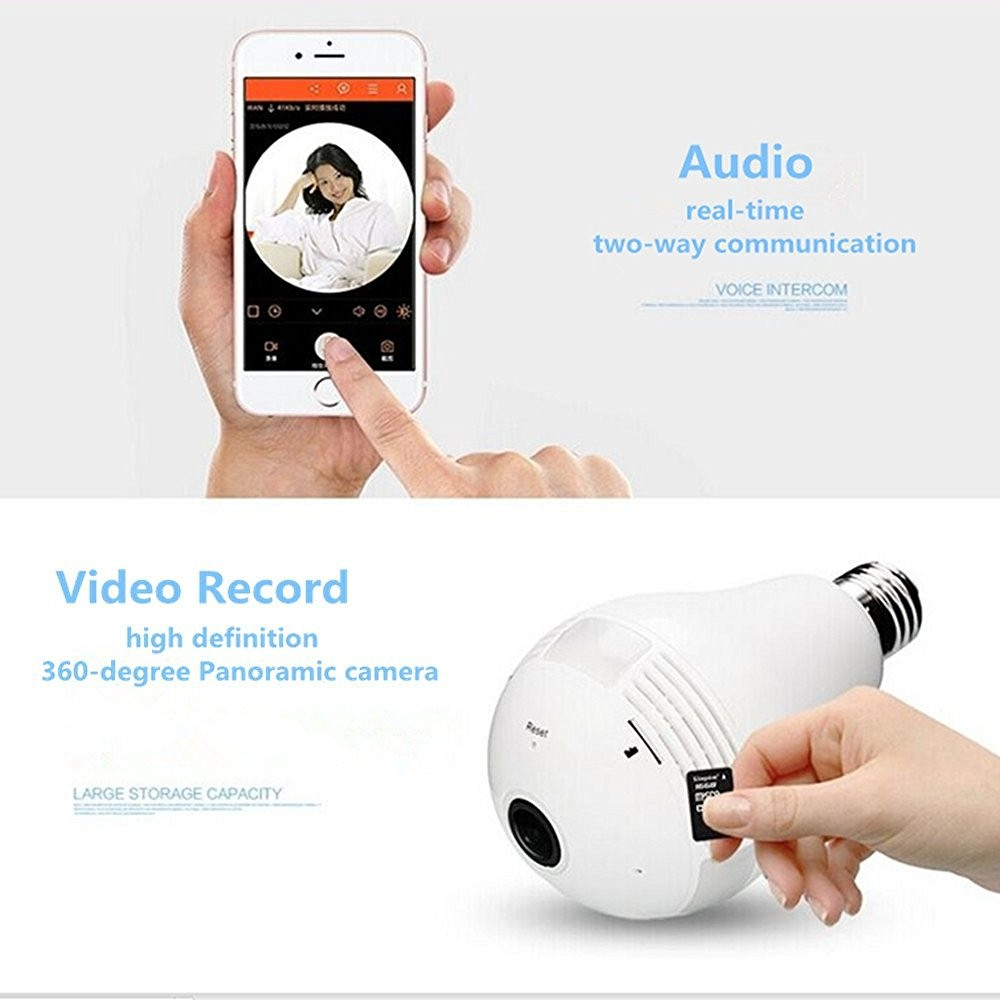 Two Way Audio 960P HD 360 Degree Fisheye Panoramic IP Camera P2P Wifi Wireless P2P Network Camera LED Bulb Light