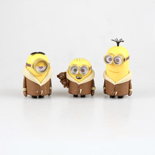 2015 new 3 pcs/set minions despicable me kevin  stuart  bob toys 3D mini pvc doll action figure for kids gift hot free shipping