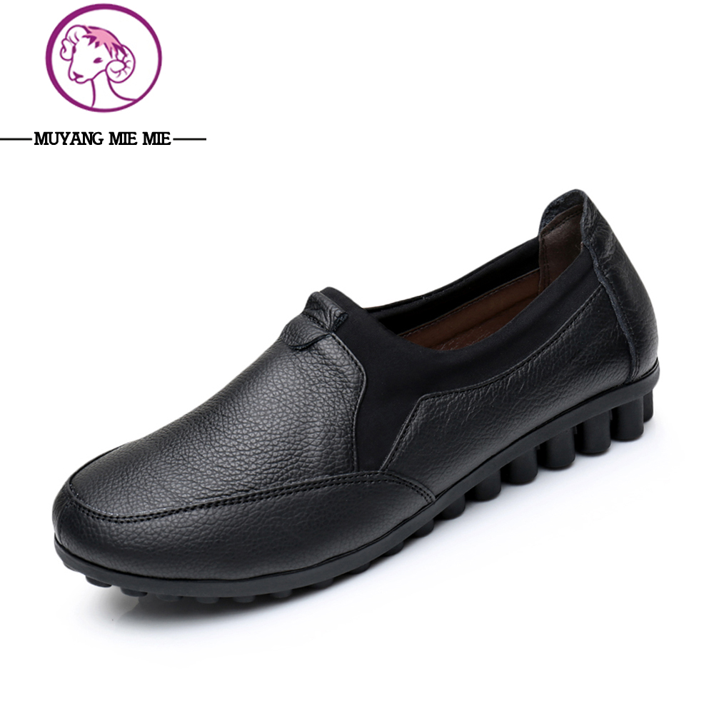 New Women Shoes Genuine Leather Slip-On Moccasins Female Loafers Soft Leisure Flats Woman Driving Casual Boat Shoes Size 35-40 znpnxn size 34 44 women flats shoes woman handmade boat shoes driving style slip on ballerines femme fhaussures 9 color