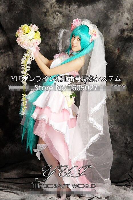 Vocaloid Hatsune Miku Wedding Dress Cosplay Anime Costumes Party Fashion Uniform Lolita Dress Clothing Custom-made Any Size NEW