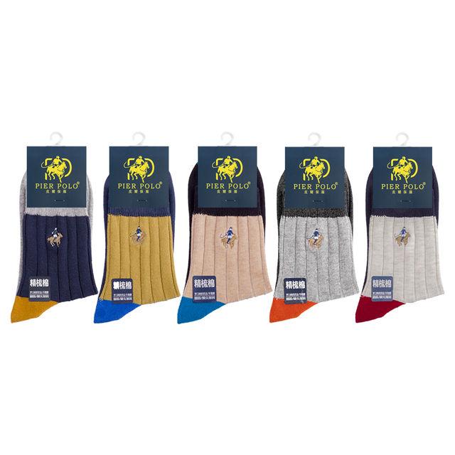 PIER POLO High Quality New Arrival Brand 5Pairs/lot Men Socks Cotton stripe Classic Men's Socks Deodorant Spell color Dress Sock