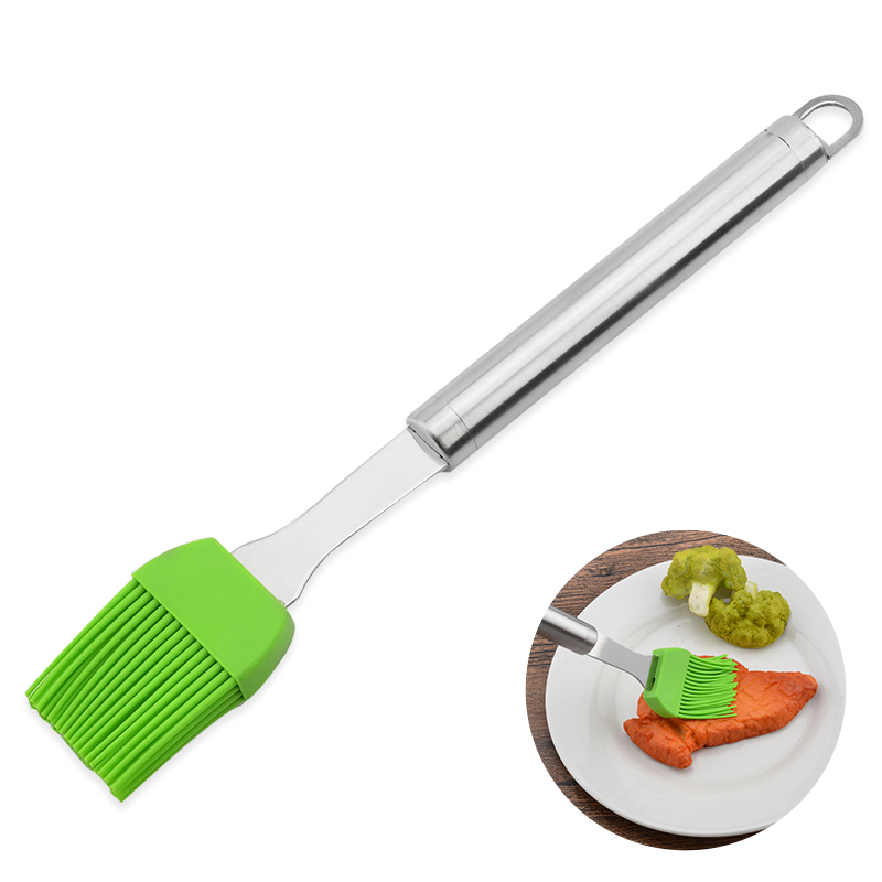 Stainless Steel Handle Silicone Brush DIY Cake Pastry Butter Brush Eco-friendly Basting Tool for Home Baking Outdoor Barbecue