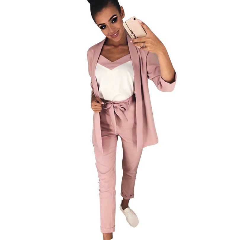 MVGIRLRU Women V Neck 3 Piece Suit Lace Up Waisted Slim Bracelet Sleeve Blazer With Strap Vest & Trouser Set Female Pant Suits