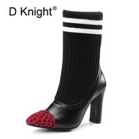 2017 Winter Women Ankle Boots Fashion Wool PU High Heel Shoes Woman Sexy Pointed Toe Thick