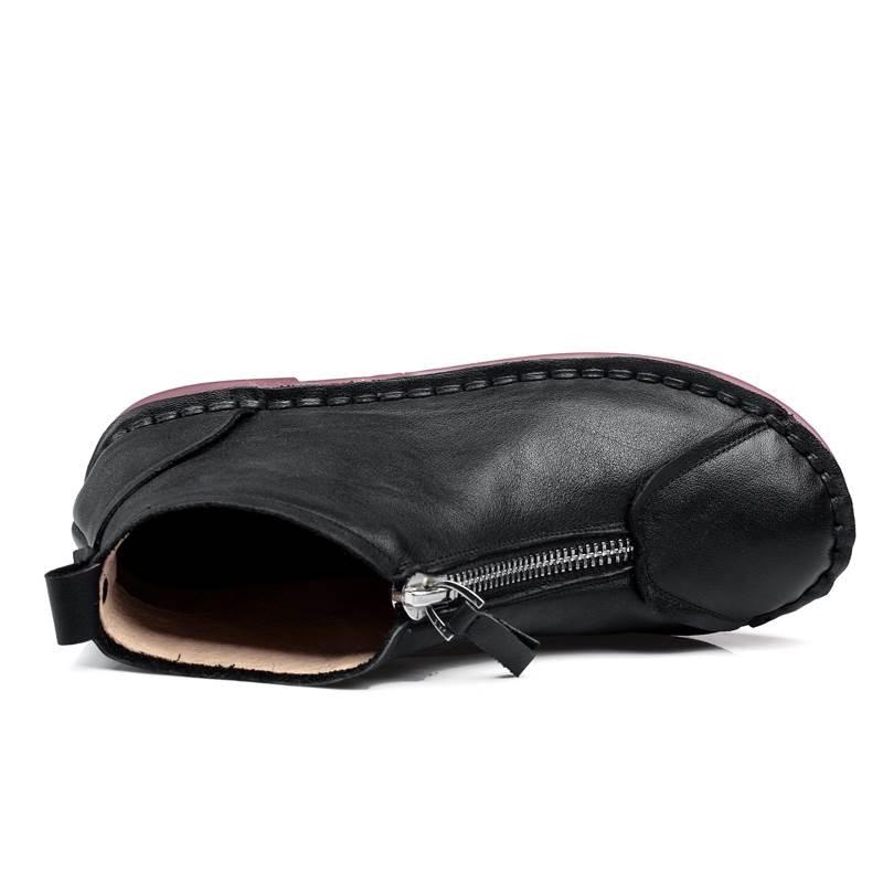 Cuir Zip marron Smirnova Automne Véritable Mode Pour Bottes En Taille Plus Avec 2018 Noir De Plat Femmes Cheville 43 Chaude forme 34 Plate qx8R7wBrq