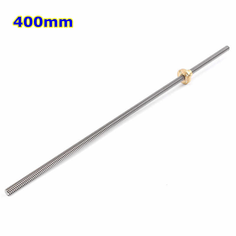 Stainless Steel 8mm T8x2 Lead Screw Threaded Rod T8 Trapezoidal 150/200/250/300/400/500mm for 3D Printer kit Parts Accessories