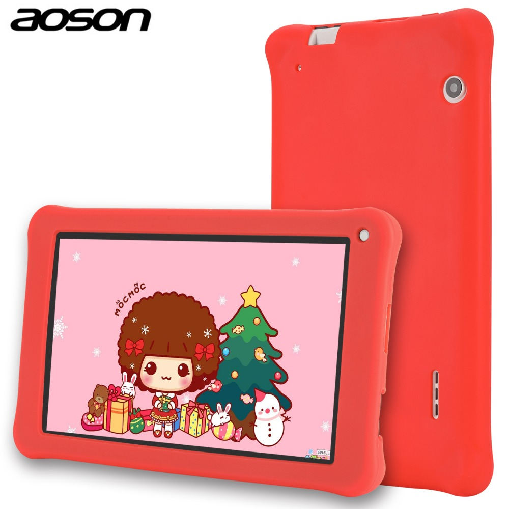 Best gift Aoson 7 Inch Kids Tablets PC 1GB 16GB Quad Core Android 6.0 Tablet 1024*600 IPS HD Tab Pre-install Kids Software car charger for tablet pc cube u10gt u10gt2 aoson m19 more black dc 9v
