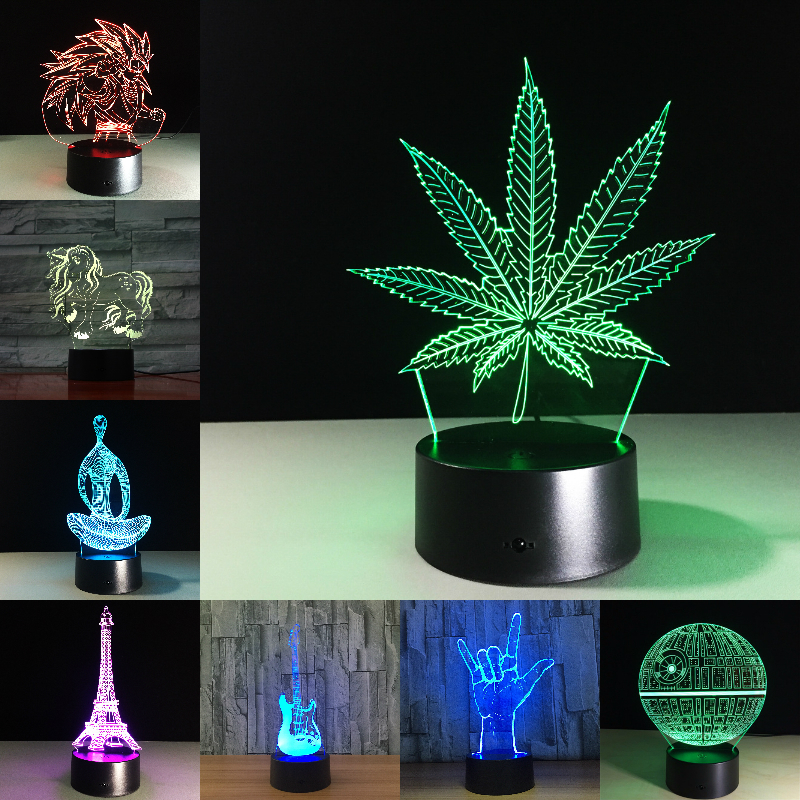 Feuille d'érable 3D Illusion visuelle lampe transparente acrylique veilleuse LED lampe 7 couleur changeante tactile lampe de Table enfants lampe de lave