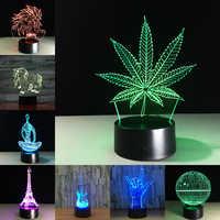 Feuille d'érable 3D Illusion visuelle lampe transparente acrylique veilleuse LED lampe 7 couleur changeante tactile lampe de Table enfants lampe de lave