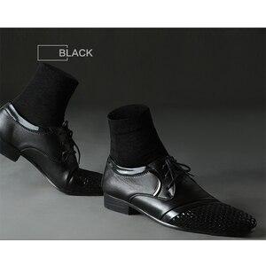 Image 4 - 10 par/partia wysokiej jakości męskie bawełniane skarpetki czarne biznesowe męskie skarpetki oddychająca jesienno zimowa dla mężczyzn Solid Color 2020 New Hot