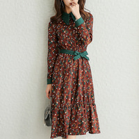 BIBOYAMALL New Arrival Spring Boho Women Maxi Dresses Coffee Long Sleeve Womens Elegant With Button Floral