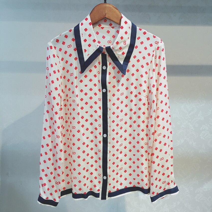 Femmes Blouse 100% vraie soie à manches longues à pois imprimé Floral Blouses pour femmes Turn-down Colla chemise 2018 automne été rose
