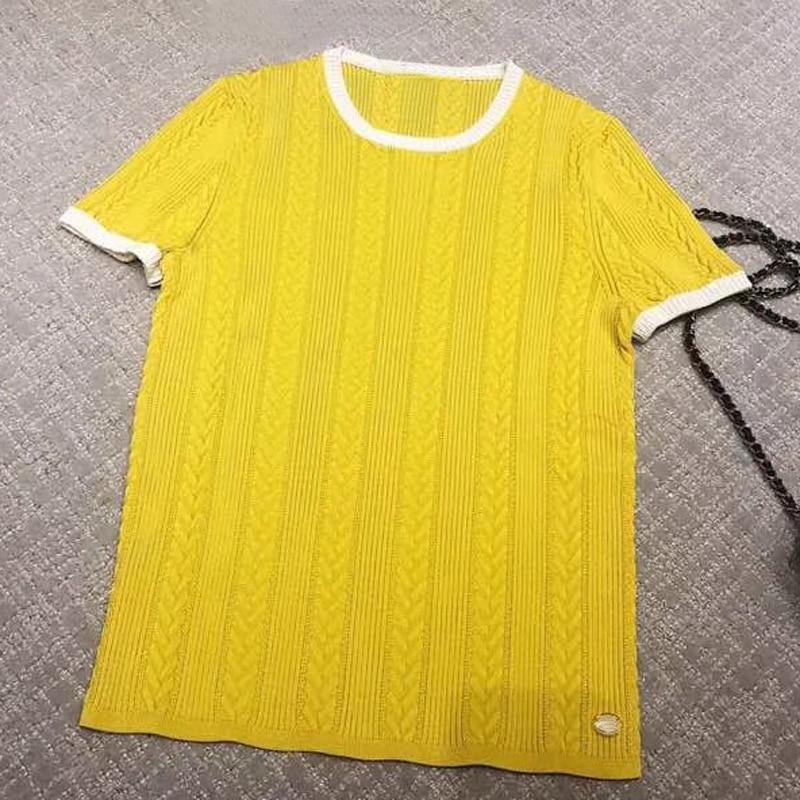 Для женщин Повседневное шелковые рубашки короткий рукав принтом элегантные топы 2019 новые модные Для женщин желтые рубашки