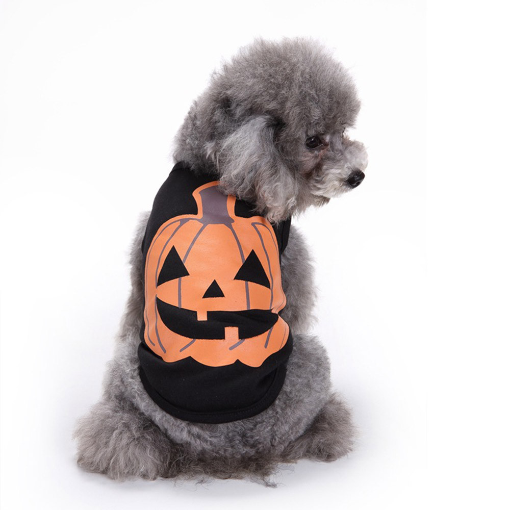 Dog Clothes For Small Dogs Pet Products Clothing Pet Dog Clothes Halloween Festivals Pumpkin Cotton Black Vest T-shirt Clothes