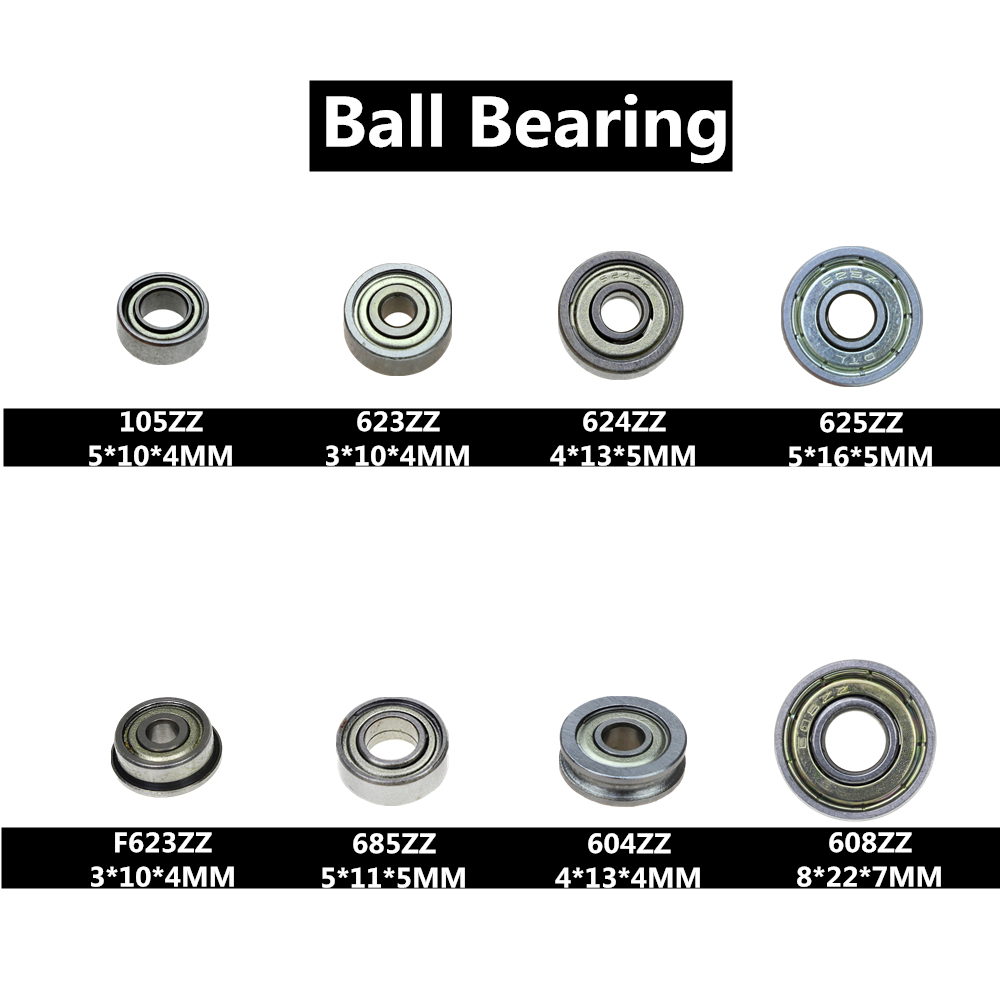 10Pcs Double Shielded Miniature High-carbon Steel 608ZZ 105ZZ 623ZZ 624ZZ <font><b>625ZZ</b></font> 685ZZ F623ZZ 604ZZ Deep Groove Ball Bearing image