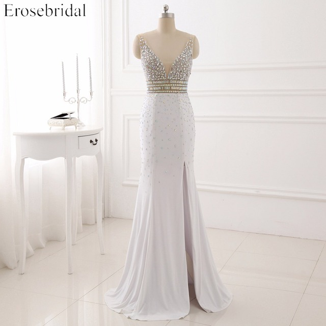 c38300a7b426f White Mermaid Prom Dresses 2017 Front Split Evening Dress Handsome Beading  Bodice V Neck Vestido De Festa Zipper Back-in Prom Dresses from Weddings &  ...