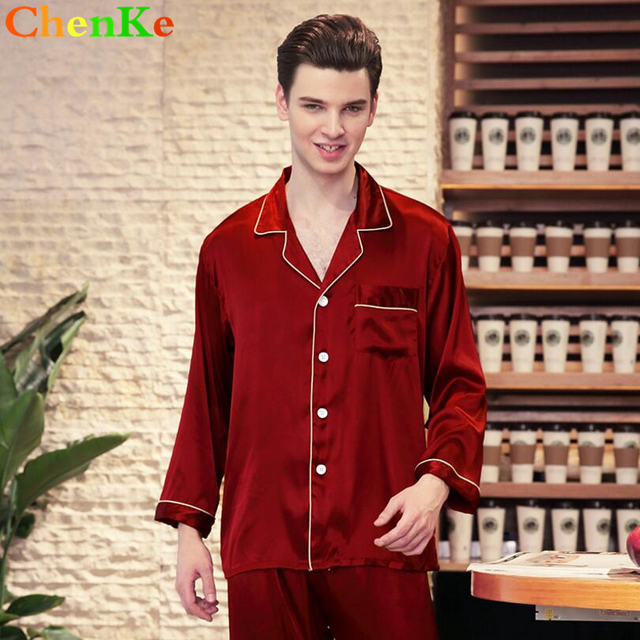 50e4c08a09 ChenKe 2018 Chinese Satin Silk Pajamas Sets Long Sleeve Men Turn Down  Collar Pajamas Male With