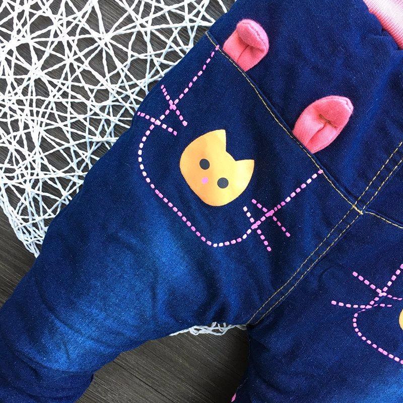 Cotton Padded Jeans Warm Kids Girls Jeans Cartoon Rabbit Infant Trousers New Denim Girl Outerwear 2016 Winter Children Clothing (5)