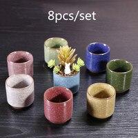 8pcs/set Ice Crack Ceramic Flower Pots for Juicy Plants Small Bonsai Pot Home and Garden Decor Succulent Plant Pots Dropshipping