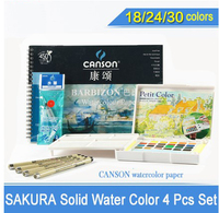 Solid Water Color Paint 18/24/30 Colors Sets,Solid Water Color+Needle Pen+Water Brush+Watercolor Paper with gift
