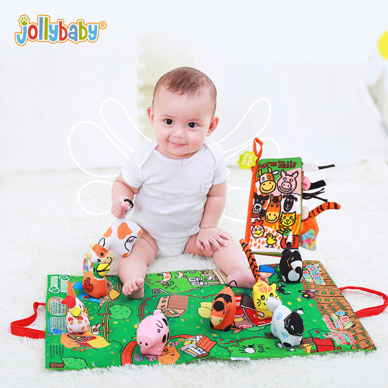 Jollybaby Infant 3D Scenes Farm Doll Cloth Book With Play Mat Baby Rattles Early Development Educational Story Book стоимость