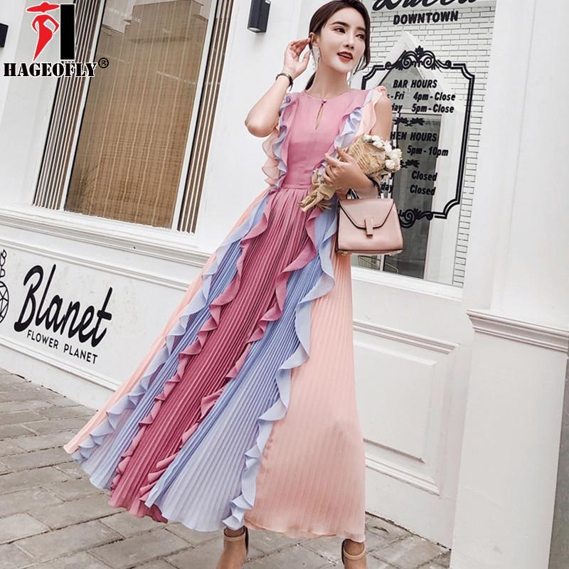 HAGEOFLY High quality luxury Runway Pleated Patchwork Pink Colour Leaf Ruffles Dress Goddess Chiffon Rainbow Long Dress 2018 New