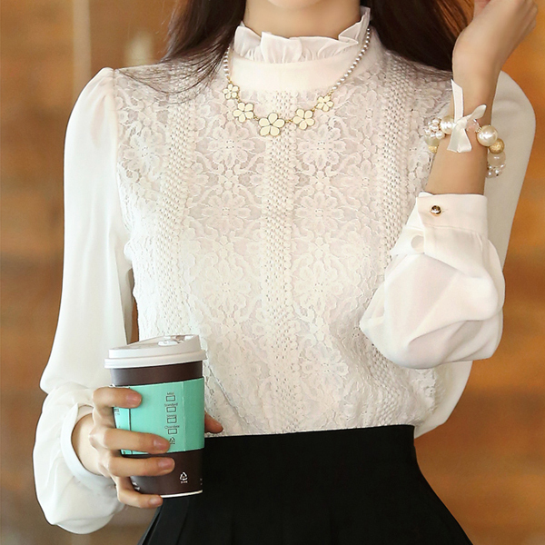 chemise femme blusa de renda chiffon white shirt lace blouse women blouses 2016 korean fashion clothing blusas y camisas mujer