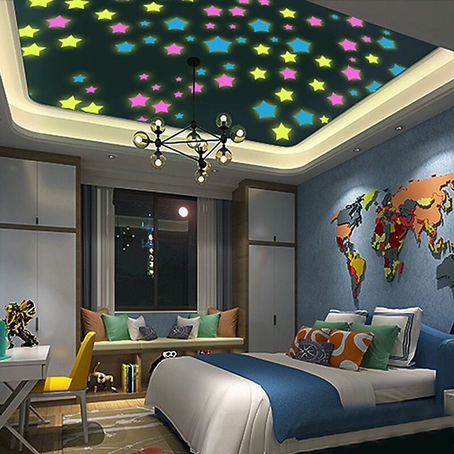 % 50 pcs/lot 3D stars glow in the dark Luminous on Wall Stickers for Kids Room living room Wall Decal Home Decoration poster
