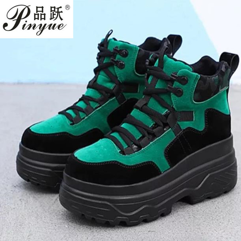New Fall Winter Shoes Woman Suede Leather Platform Sneakers Women Thick Sole High Top -4258