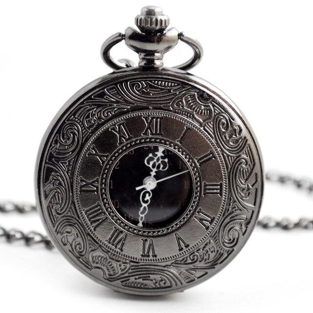 Quartz Pocket Watch Vintage Roman Numerals Clock Men Women's Necklace Chain Pend