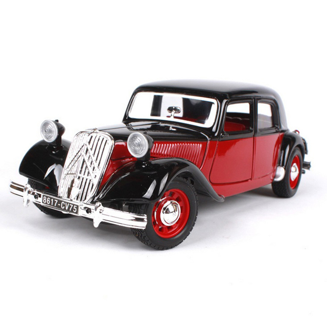 1 24 1938 Citron 15 Cv Ta Clic Car Models Black Red Toys For Boys Children Gifts Collections Displays