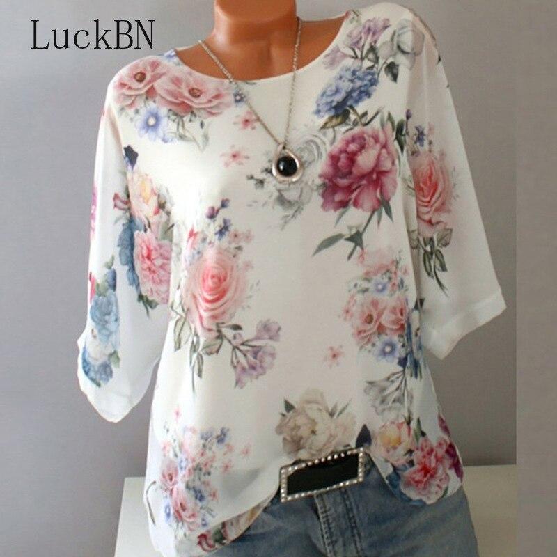 Verão Floral Imprimir Mulheres Blusa 5XL Plus Size Chiffon Blusas Meia Manga Praia Camisa Trabalho de Escritório Camisas Blusas Feminina Tops